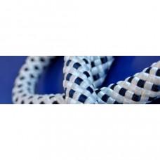 Landvast met oog , lengte 10 meter, dikte 14 mm, kleur zwart/wit, type Mooring de luxe