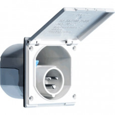 Invoerdoos/stopcontact (male) voor CEE stekker 16A - 240Volt- kleur creme