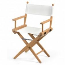 Regisseursstoel wit batyline zitting - teakhout en RVS beslag