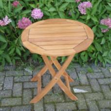 Rond teak houten klaptafeltjeø 60 cm tafelblad