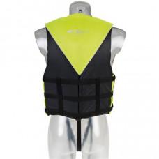 Reddingsvest, zwemvest, geschikt voor waterskiën en jetskiën,  voor personen van 60 tot 70 kg, maat L, 50 Newton, kleur geel/zwart, type Besto Impact