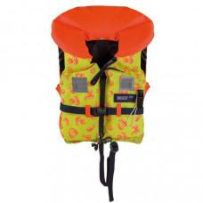 Reddingsvest, zwemvest, geschikt voor kind van  15 tot 20 kg, maat Todler, kleur Oranje met geel geprint, type Besto Racingbelt 100 N